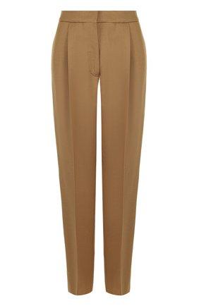 Шерстяные брюки прямого кроя с защипами   Фото №1