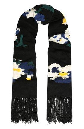 Шерстяной шарф фактурной вязки с цветочным принтом и бахромой Etudes разноцветный | Фото №1
