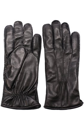 Кожаные перчатки с подкладкой из смеси шерсти и кашемира Pal Zileri черные   Фото №1