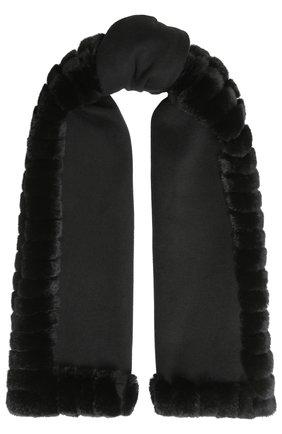 Шарф из смеси шерсти и кашемира с отделкой из меха кролика Yves Salomon черный   Фото №1