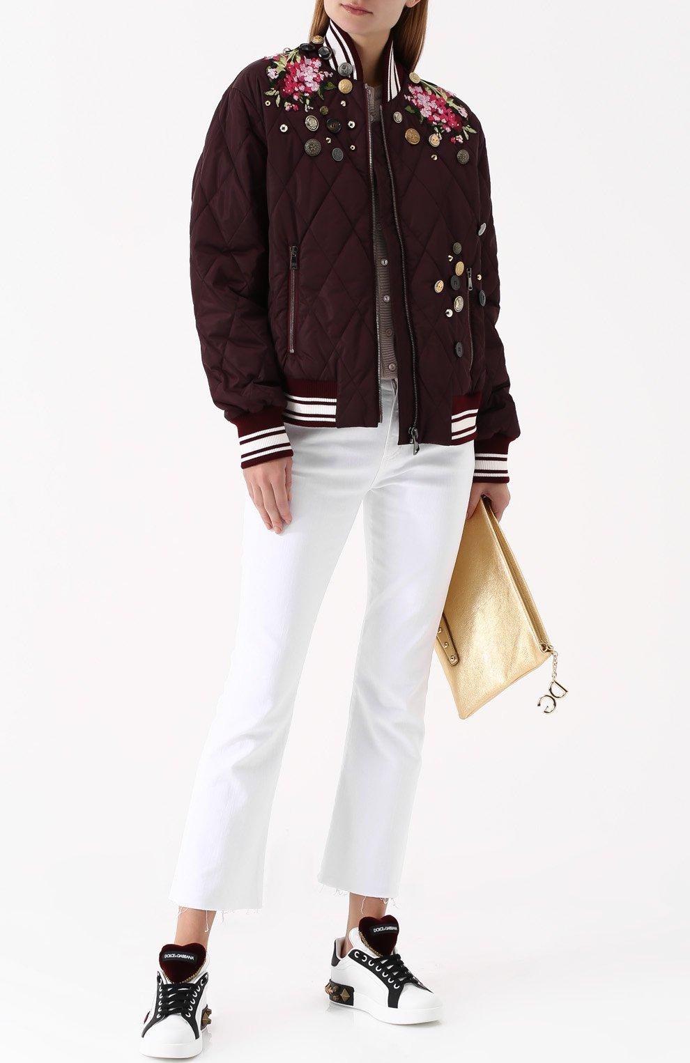 Кожаные кеды Portofino с аппликациями Dolce & Gabbana белые | Фото №2