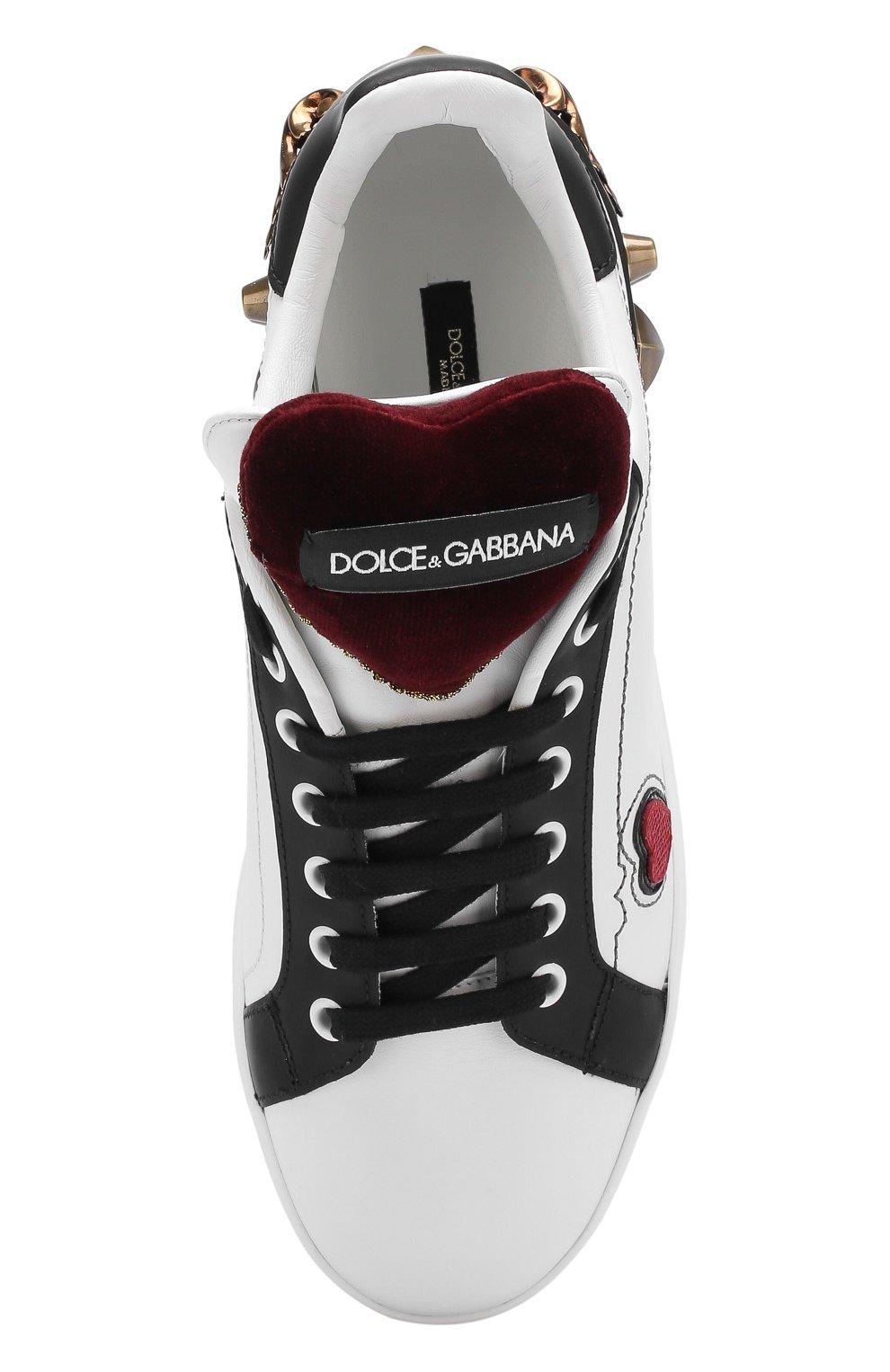 Кожаные кеды Portofino с аппликациями Dolce & Gabbana белые | Фото №5