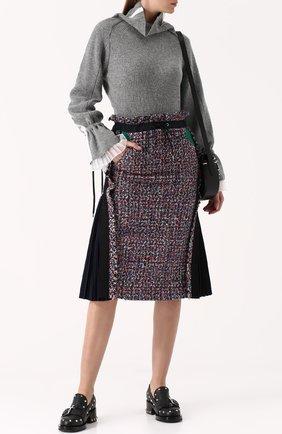 Буклированная юбка-миди с плиссированными вставками Sacai разноцветная | Фото №1