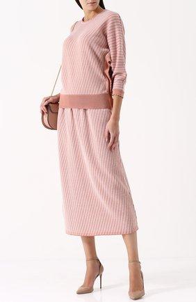 Топ из смеси хлопка и шерсти с укороченным рукавом Molli розовый | Фото №1
