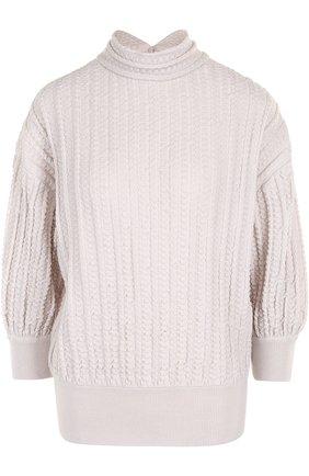 Шерстяной свитер фактурной вязки с укороченным рукавом Molli темно-синий | Фото №1