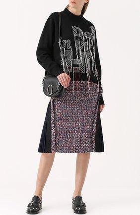 Шерстяной свитер с контрастной вышивкой Sacai черный | Фото №1