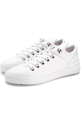 Кожаные кеды на шнуровке  Filling Pieces белые | Фото №1
