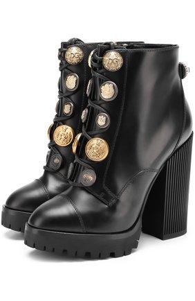 Кожаные ботильоны с металлической отделкой на массивном каблуке Dolce & Gabbana черные | Фото №1