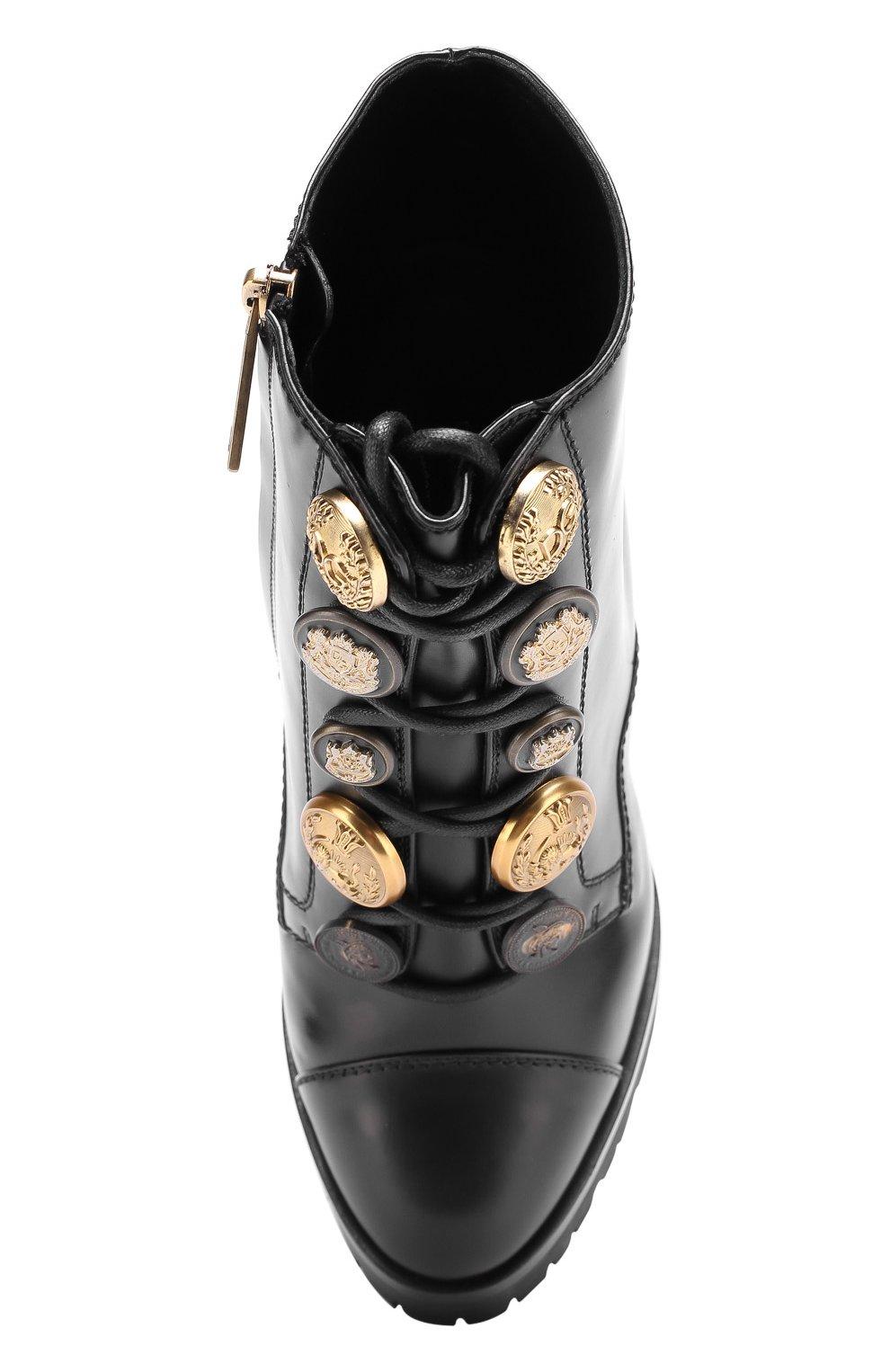 Кожаные ботильоны с металлической отделкой на массивном каблуке Dolce & Gabbana черные | Фото №5