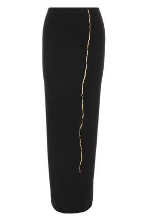 Шерстяная юбка-карандаш с контрастной вышивкой | Фото №1