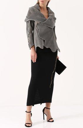 Шерстяная юбка-карандаш с контрастной вышивкой Haider Ackermann черная | Фото №1