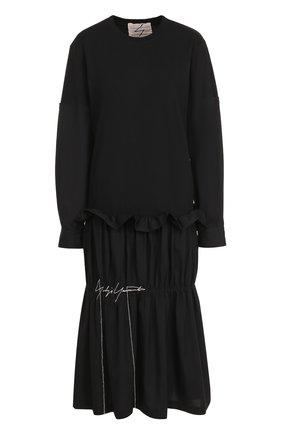 Платье-миди с длинным рукавом и драпировкой | Фото №1