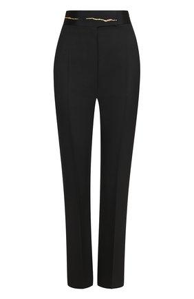 Шерстяные брюки с широким декорированным поясом | Фото №1