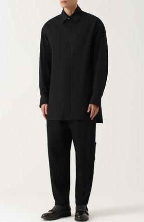 Удлиненная хлопковая рубашка свободного кроя Ann Demeulemeester черная | Фото №1
