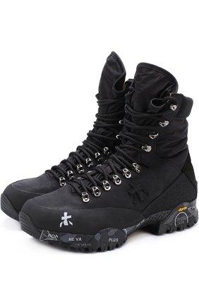 Высокие комбинированные ботинки на шнуровке