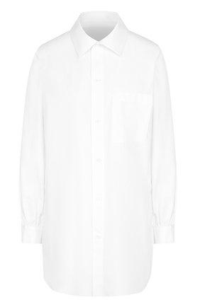 Удлиненная хлопковая блуза с накладным карманом | Фото №1