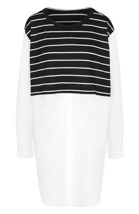 Удлиненная хлопковая блуза с шерстяной вставкой | Фото №1