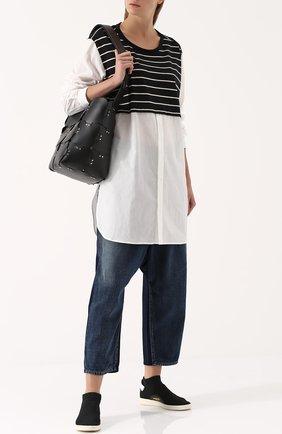 Женская удлиненная хлопковая блуза с шерстяной вставкой Yohji Yamamoto, цвет белый, арт. YK-B12-810 в ЦУМ   Фото №1