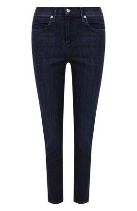 Укороченные джинсы прямого кроя с потертостями Agolde синие | Фото №1