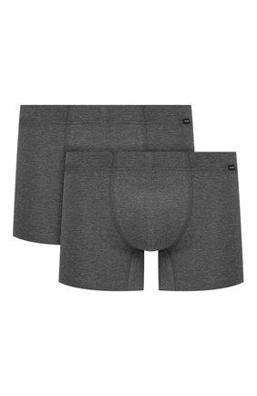 Мужские комплект из двух хлопковых боксеров HANRO темно-серого цвета, арт. 073079 | Фото 1 (Кросс-КТ: бельё; Мужское Кросс-КТ: Трусы; Материал внешний: Хлопок)