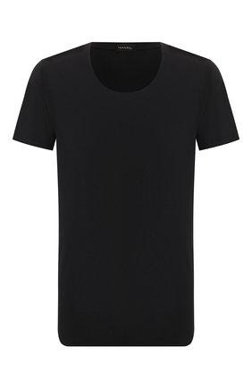 Мужские хлопковая футболка HANRO черного цвета, арт. 073088 | Фото 1