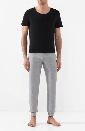 Мужские хлопковая футболка HANRO черного цвета, арт. 073088 | Фото 2