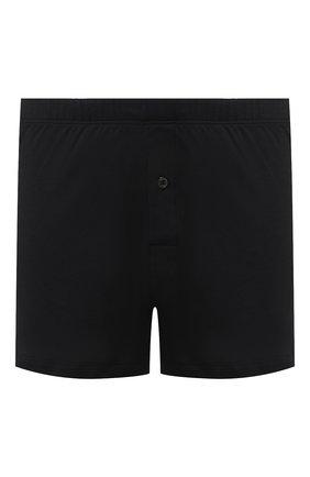 Мужские хлопковые боксеры со скрытой резинкой HANRO черного цвета, арт. 073172 | Фото 1
