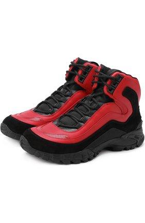 Высокие кожаные кроссовки на шнуровке