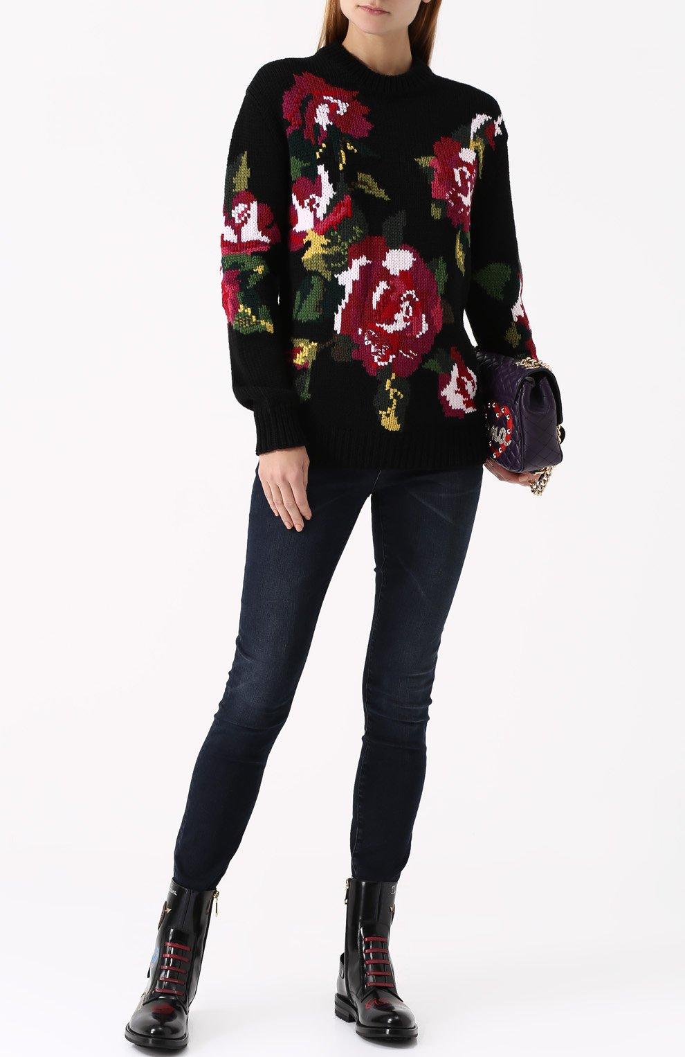 Джинсы-скинни с потертостями Dolce & Gabbana темно-синие | Фото №2