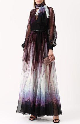 Шелковое платье-макси с воротником аскот и поясом Elie Saab разноцветное | Фото №1