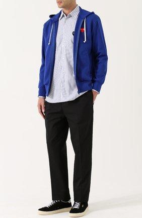Хлопковая рубашка с аппликацией Comme des Garcons Play синяя | Фото №1