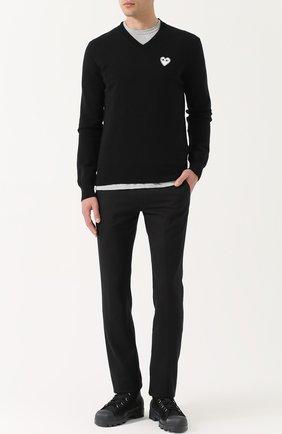 Пуловер из шерсти тонкой вязки Comme des Garcons Play черный | Фото №1