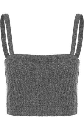 Шерстяной кроп-топ на тонких бретельках Isa Arfen серый | Фото №1