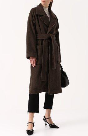 Пальто из смеси шерсти и кашемира с поясом Isa Arfen коричневого цвета | Фото №1