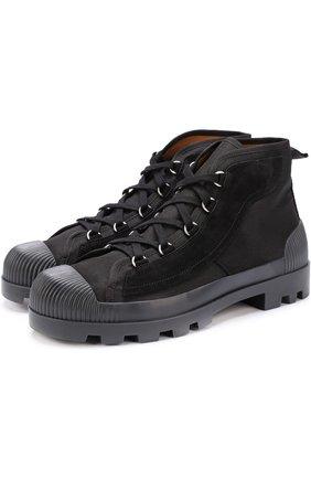 Высокие текстильные ботинки на шнуровке с замшевой отделкой