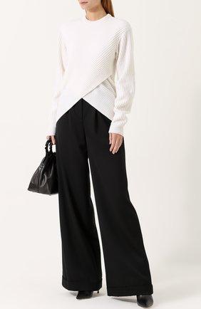 Пуловер фактурной вязки из смеси шерсти и кашемира Mugler белый | Фото №1
