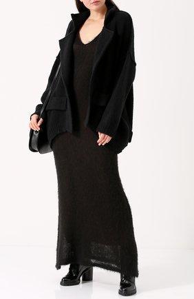 Вязаное платье-макси без рукавов Nude черное   Фото №1