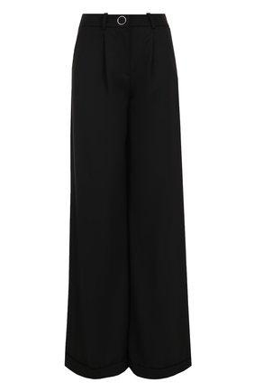 Шерстяные широкие брюки с защипами Mugler черные | Фото №1