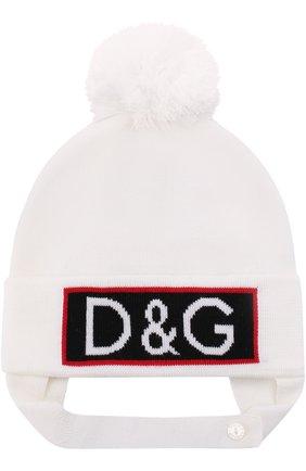 Шапка из шерсти с логотипом бренда и помпоном Dolce & Gabbana белого цвета   Фото №1