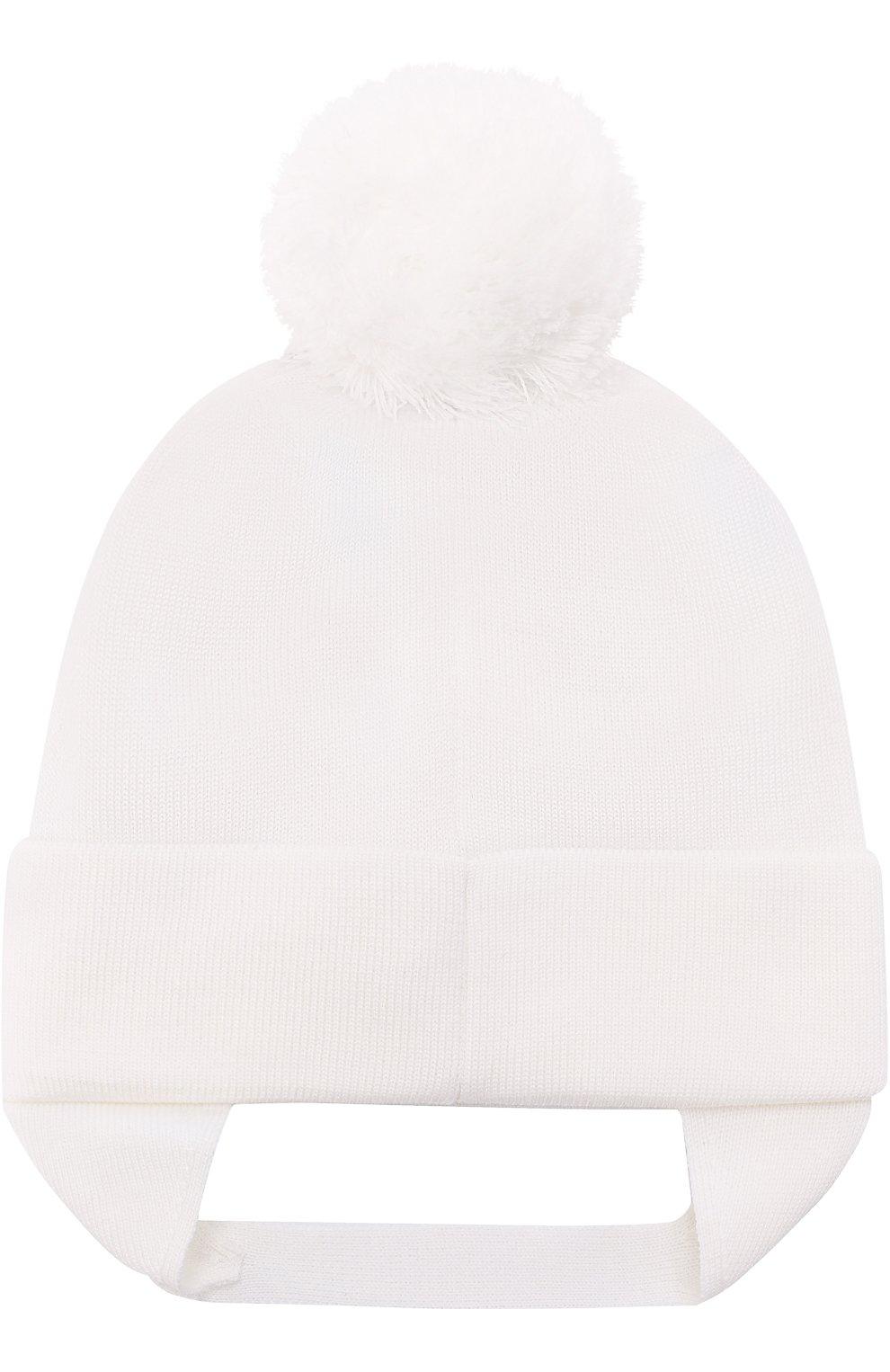 Шапка из шерсти с логотипом бренда и помпоном Dolce & Gabbana белого цвета   Фото №2