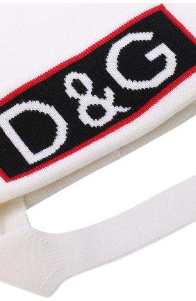 Шапка из шерсти с логотипом бренда и помпоном Dolce & Gabbana белого цвета   Фото №3