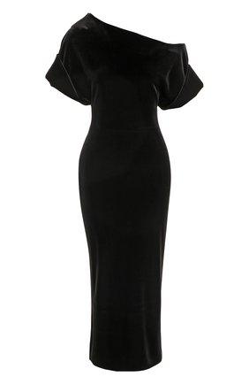 Приталенное бархатное платье с открытым плечом | Фото №1
