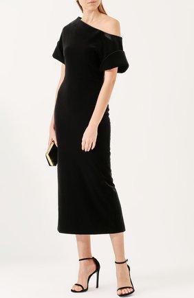 Женское приталенное бархатное платье с открытым плечом CHRISTOPHER KANE черного цвета, арт. 491000/UFA12 | Фото 2