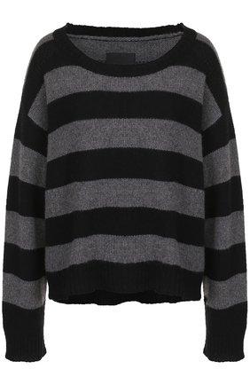 Кашемировый пуловер в полоску с круглым вырезом | Фото №1