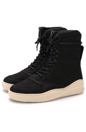 Высокие кожаные ботинки на шнуровке Filling Pieces черные | Фото №1