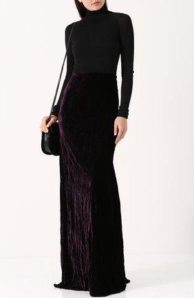 Однотонная бархатная юбка-макси Ann Demeulemeester фиолетовая | Фото №1
