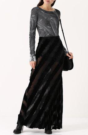 Бархатная юбка-макси с прозрачными вставками Ann Demeulemeester черная | Фото №1