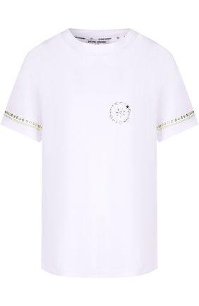 Хлопковая футболка прямого кроя с декорированной спинкой | Фото №1