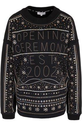 Хлопковый свитшот с металлизированной отделкой Opening Ceremony черный | Фото №1