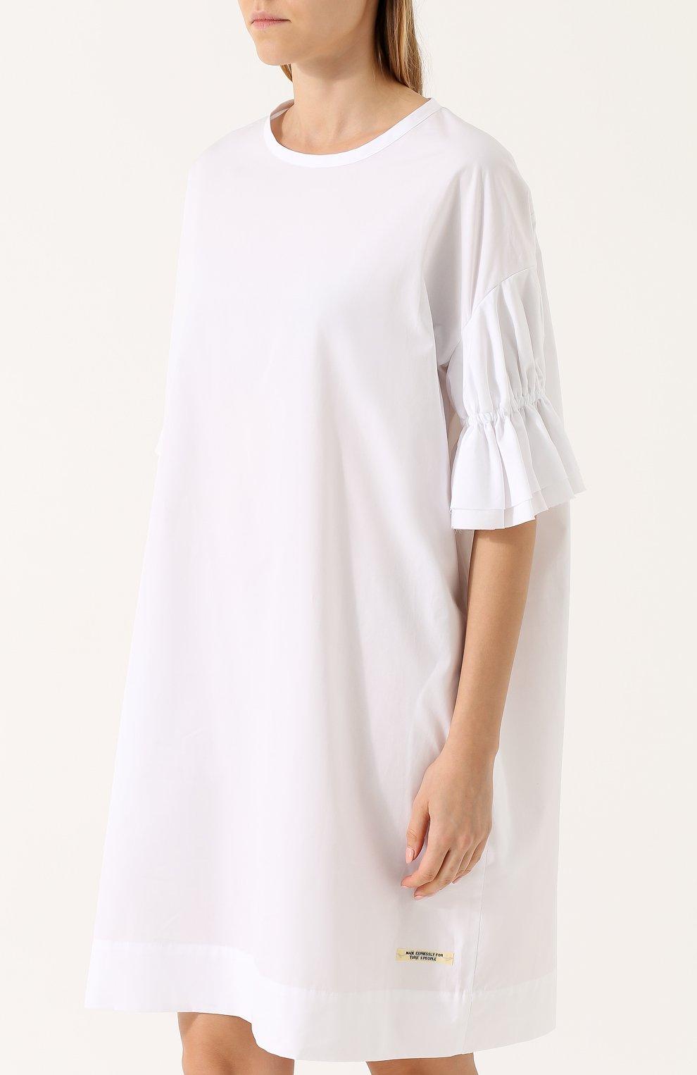 1ee3d62d48c Хлопковое платье свободного коя с укороченным рукавом Yohji Yamamoto белое